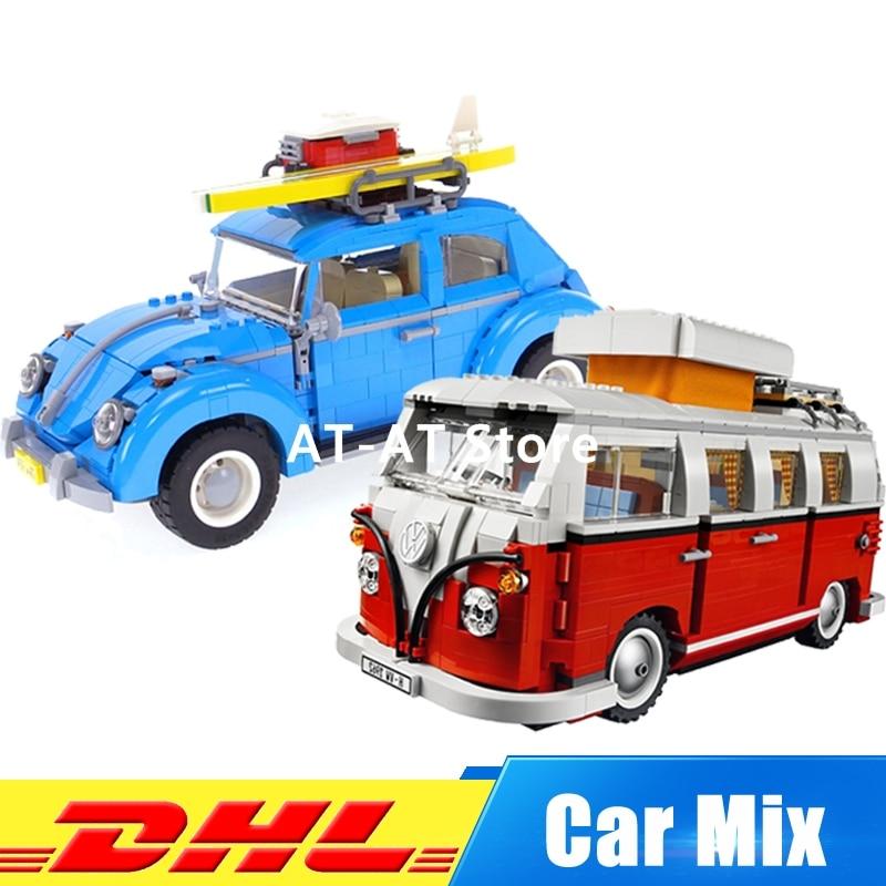 LEPIN 21001 1354Pcs Volkswagen T1 Camper Van+LEPIN 21003 1193Pcs Car Beetle Model Building Kits Set Clone 10220 10252