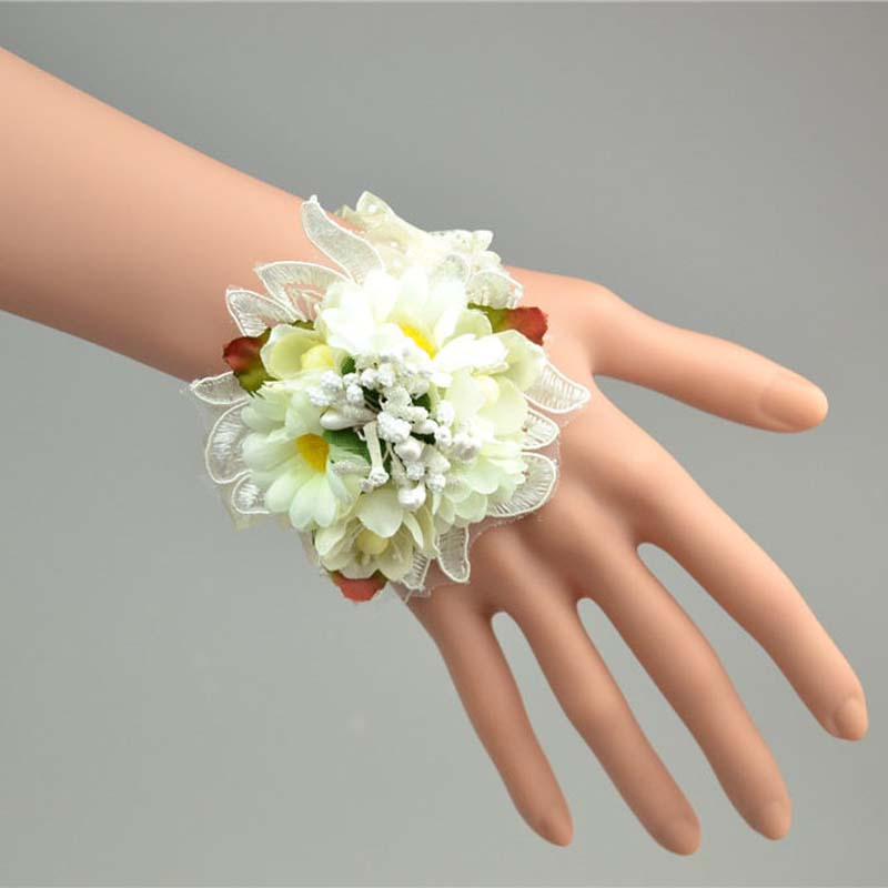 Multicolor Artificial Silk Flower Bridesmaid Wrist Corsage Elastic Prom Bracelet Wedding Hawaiian Party Bridal Supplies In Dried Flowers