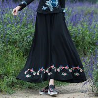 Women Long Skirts Vintage Embroidery Flowers Black Color Cotton Linen High Waist Elastic Pleated Skirt Spring
