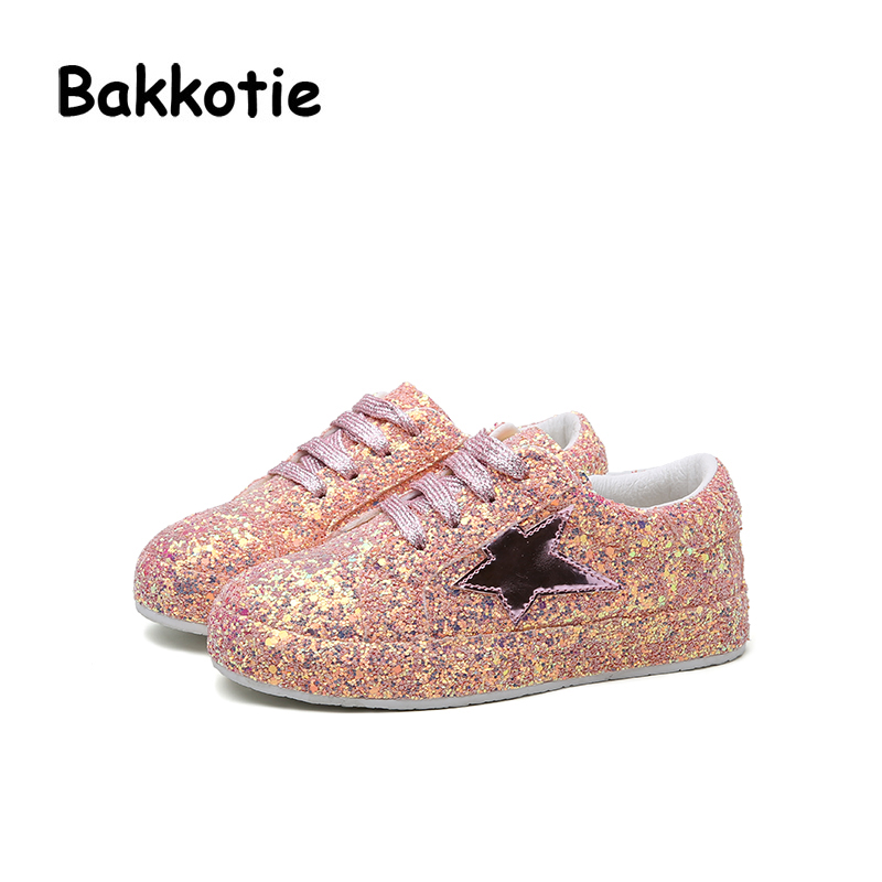 Bakkotie Spring Fashion Children Casual Glitter Sneakers Baby Boy Star Sequin  Shoes Kid Pink Sport Shoes Girl Brand Shoe Trainer-in Sneakers from Mother  ... 61598b4bb