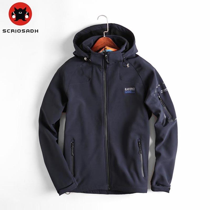 2019 Outdoor Quick dry Waterproof Windbreaker Soft shell Jackets Male Outdoor Sports Warm Coats Mountain Climbing Hiking Jacket