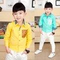 YN-081, children boys shirts, laser owl pocket, long sleeve fashion shirts, 100% cotton