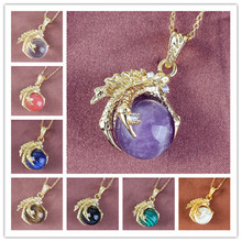 все цены на Kraft-beads Light Yellow Gold Color Dragon Claw Amethysts Pendant Rock Crystal Necklace Link Chain Jewelry онлайн
