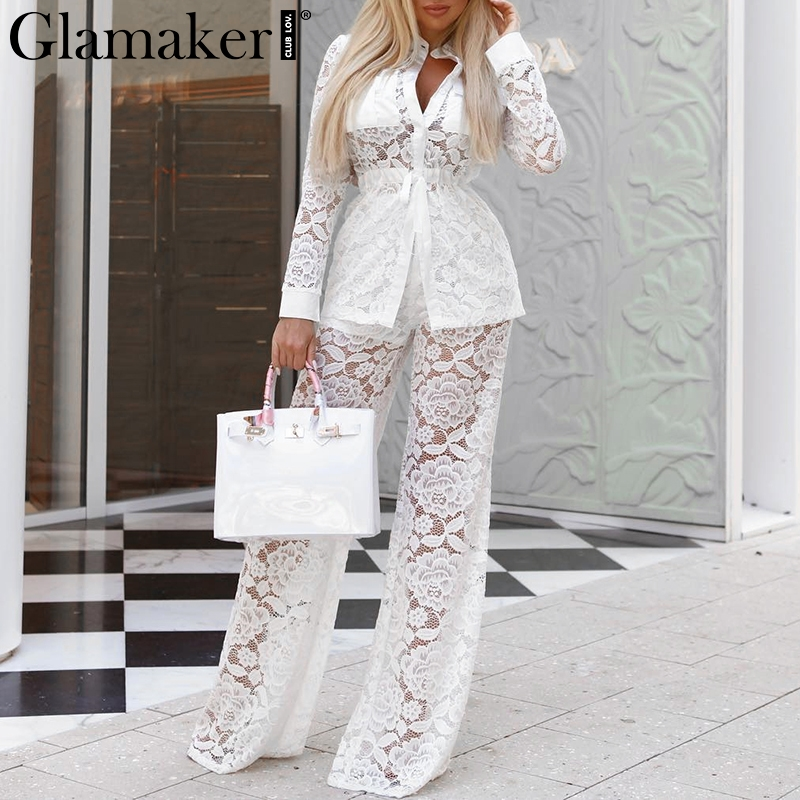 Glamaker Transparent two-piece suit lace   jumpsuit   Women white long sleeve shirt   jumpsuit   spring wide leg pants rompers elegant