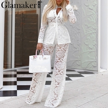 Glamaker Transparent two piece suit lace jumpsuit Women white long sleeve shirt jumpsuit spring wide leg