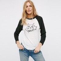 2018 New arrival hot sprzedaż kobiety koszulki z krótkim rękawem bawełna elastan dzianiny miękkie koszule O-neck T-shirt dorywcza kot wzór śliczne koszule