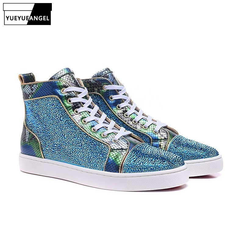 Women Designer Shoes Diamond Bling Blue Glitter High Top Brand Fashion Luxury Sneakers Ankle Boots Casual Flats Shoes Plus SizeWomen Designer Shoes Diamond Bling Blue Glitter High Top Brand Fashion Luxury Sneakers Ankle Boots Casual Flats Shoes Plus Size