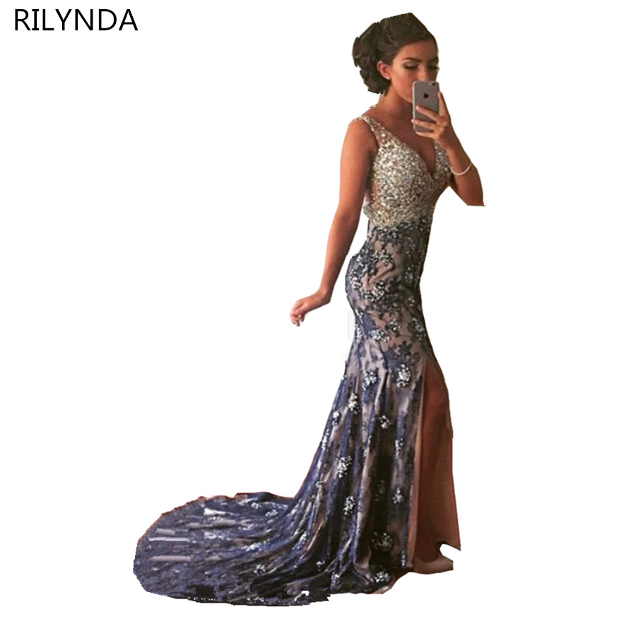 Navy blue lace mermaid evening dress 2016 elegant sexy v for Wedding guest lace dresses