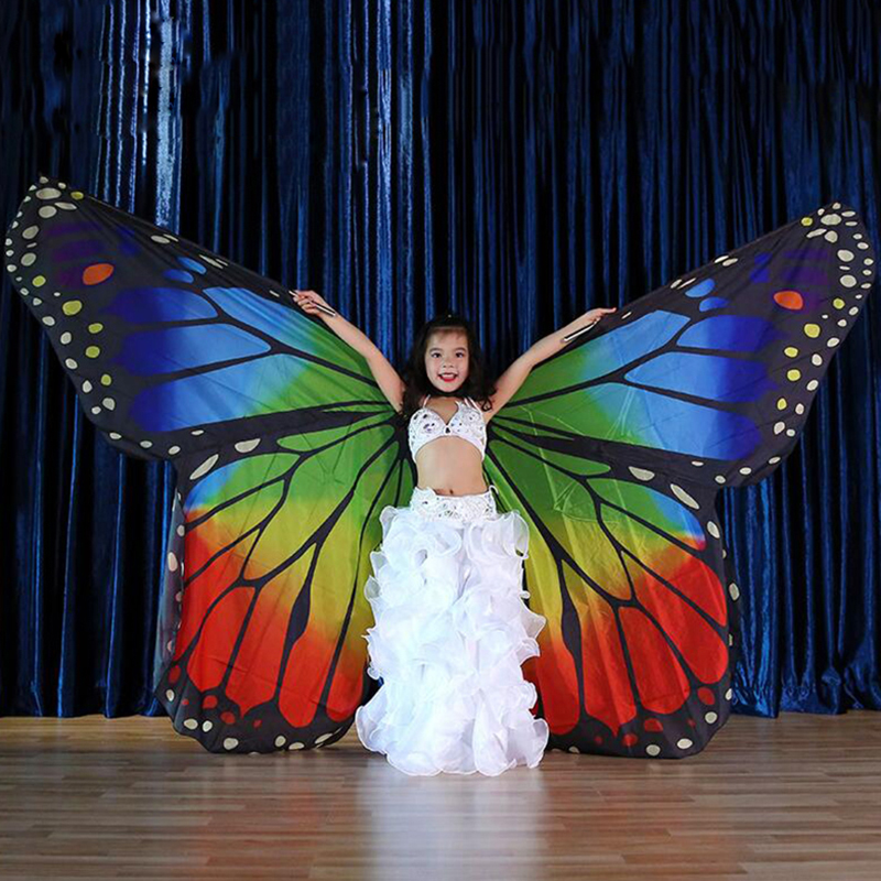 Stage Performance Props Kids Dancewear Fairy Cape Polyester Dance Isis Wing Chiffon Butterfly Wings For Children Belly Dance