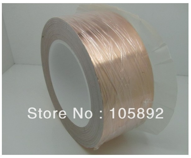 ФОТО 50mm x 30M x 0.06mm Copper Foil Conductive Adhesive and Single Conductive for cooper foil tape of soldering bga