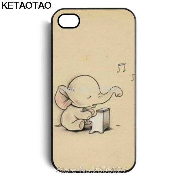 KETAOTAO Elephant Baby Playing the Piano Phone Cases for iPhone 4S 5C 5S 6S 7 8 Plus X for Samsung Case Soft TPU Rubber Silicone