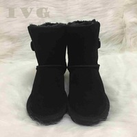 HOT Australian Women Snow Boots 1 Button Waterproof Cow Leather Winter Warm Outdoor Boots Unisex Shoes Brand Ivg Size US3 14