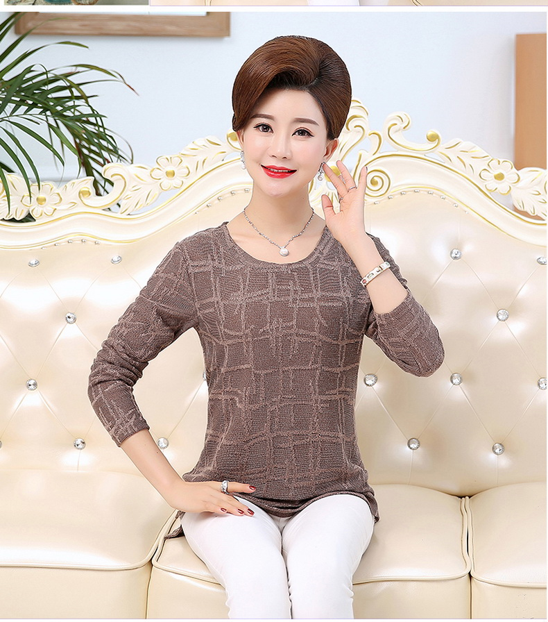 WAEOLSA Autumn Woman Basic Tops Red Khaki Green Knitted Blouses Middle Aged Womens Round Collar Tunic Mother Casual Blouses Plus Size Tops (7)