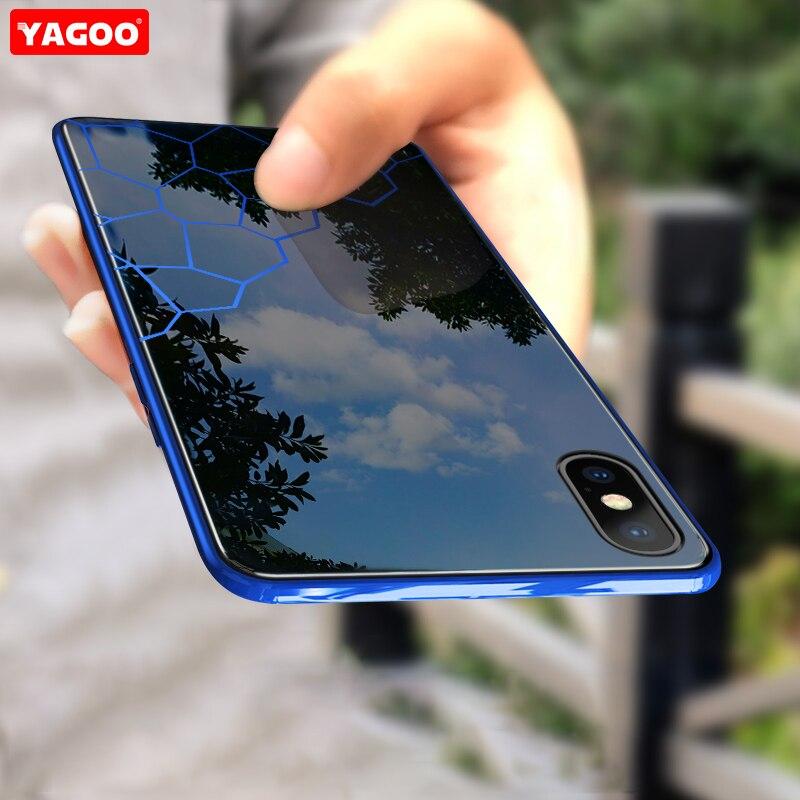 Para iphone XS MAX caso de vidrio de lujo duro cubierta de Shell para iphone XS MAX caso de hombre de negocios completo proteger cubierta XS caso Yagoo