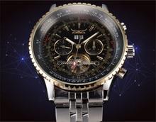 JARAGAR Grand Cadran Hommes Montres Top Marque De Luxe Automatique Auto-vent Relogios Masculino Militaire Montre Mécanique Tourbillon Horloge
