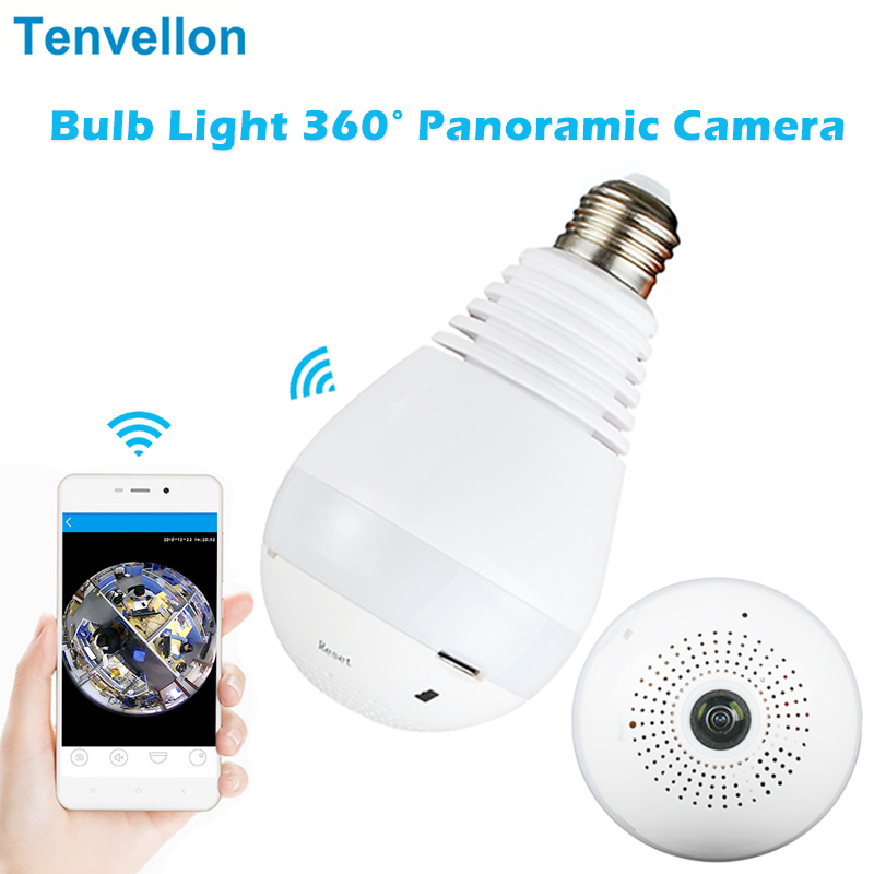 Bulb Light Wireless Ip Camera Fisheye Hd 960p 360 Degree