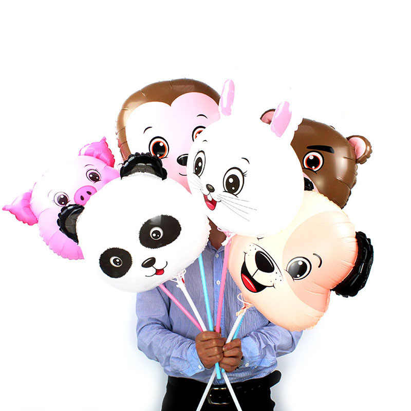 KAMMIZAD 2pcs panda balloons Animal Monkey pig rabbit bear dog Air Balloon Kids Gift Birthday Zoo Theme Party Decor Photo props