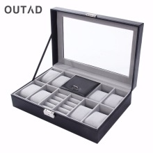 OUTAD Watch Winder Luxury Boxes Casket Grids+3 Mixed Grids PU Leather Black Jewelry Ring Display Case Storage Organizer