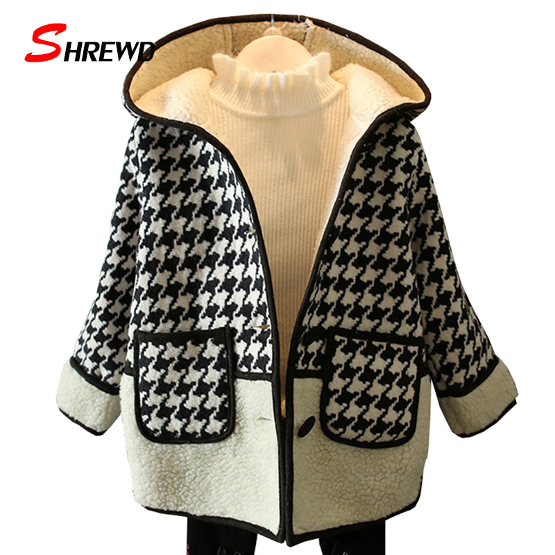 ФОТО Kids Girl Jacket 2017 Fashion Houndstooth Hooded Kids Jacket Winter Coat Single-breasted Long Seeve Kids Clothes Girls 3402W
