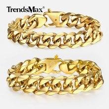 13-15mm Men's Bracelets Gold 316L Stainless Steel Curb Cuban