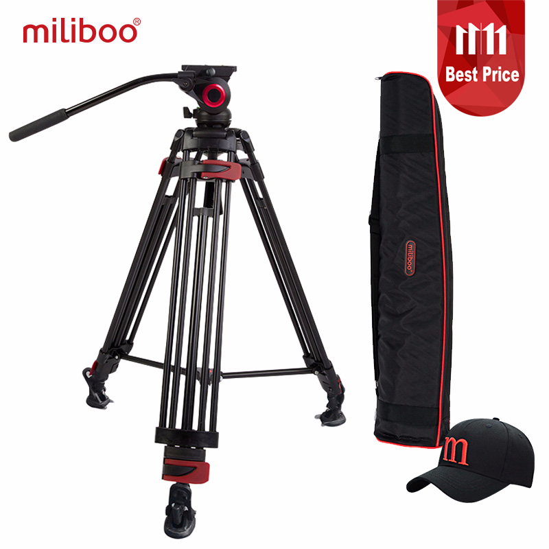 miliboo MTT603A Aluminium Portable Camera Tripod for Professional Camcorder/Video/DSLR Stand 75mm Bowl Size Video Tripod aluminium alloy professional camera tripod flexible dslr video monopod for photography with head suitable for 65mm bowl size