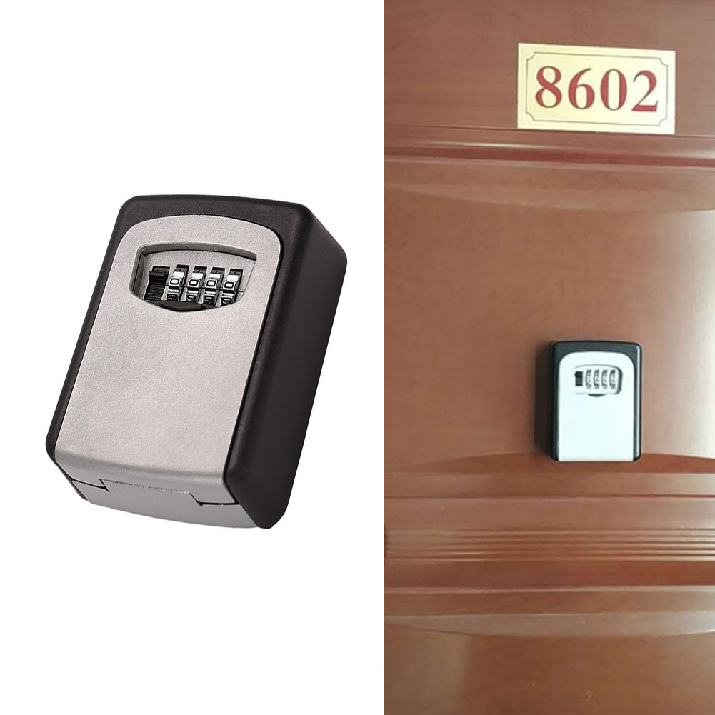 Wall Mount Key Lock Box with 4-Digit Combination for Indoor Outdoor Holds 5 Keys With 3M Adhesive Tape--M25 realtor wall mount key lock box with 10 digit push button combination is weather resistant for indoors or outdoors