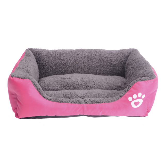 S-3XL Candy Color Paw Pet Sofa Dog Beds Waterproof Bottom Soft Fleece Warm Cat Bed House