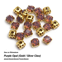 Purple Opal Sew On Rhinestone Gold Claw Base Strass 4mm 5mm 6mm 7mm 8mm Use For