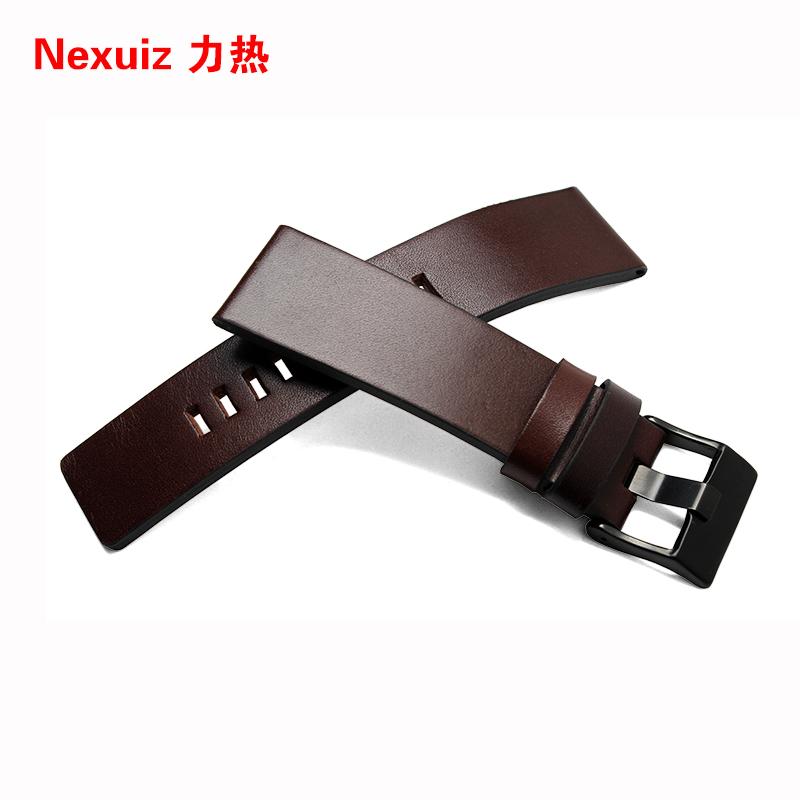 Prix pour Wholsale Nouveau haute qualité 22mm 24mm 26mm 28mm 30mm Mens Montre Bande Brun Véritable En Cuir bracelet En Acier Inoxydable Boucle