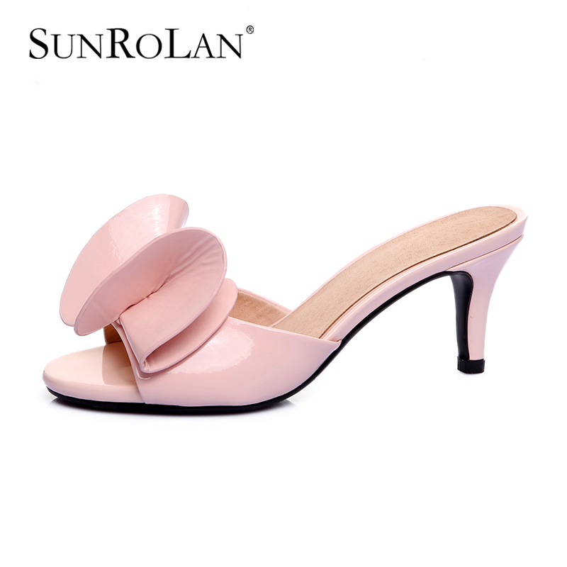 SUNROLAN 2017 Genuine Leather Summer Shoes Women Plus Size 12 Sandals Peep Toe High Heels Real Leather Sandals Ladies ShoesK1715 new 2017 spring summer women shoes pointed toe high quality brand fashion womens flats ladies plus size 41 sweet flock t179