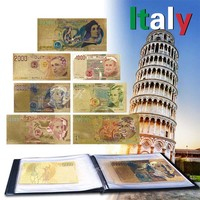 7pcs Full Italy Lire Banknotes Set Colorful Gold Foil Banknotes Italian Currency Paper Money Collection With Leather Album
