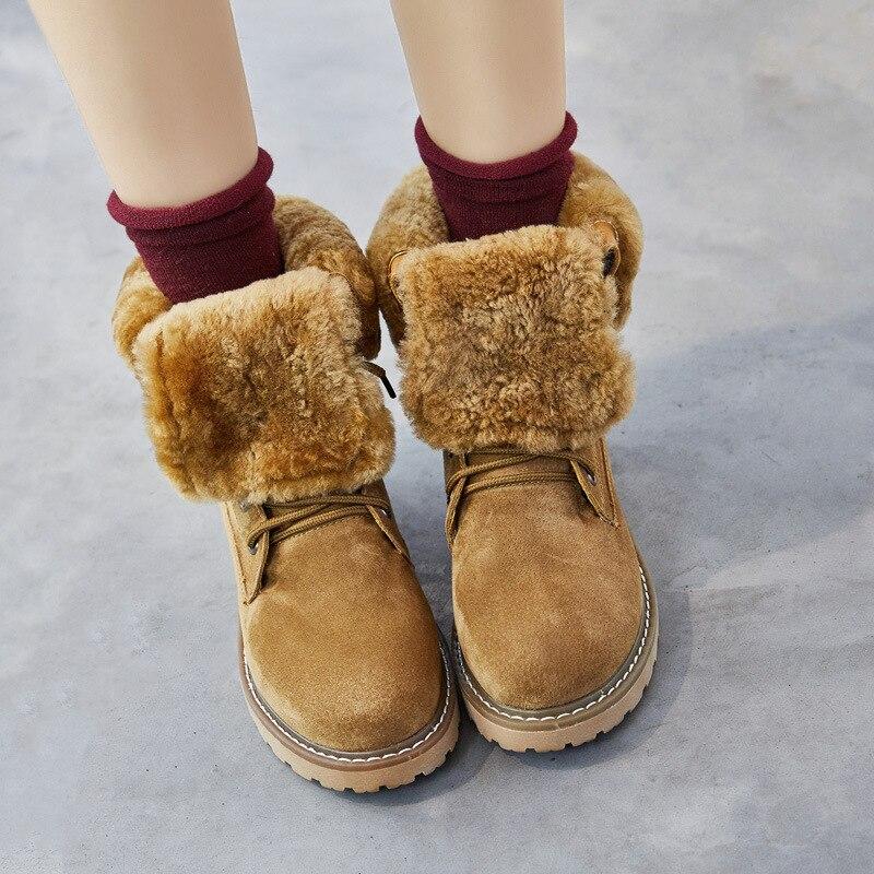Cuero Invierno Tobillo Mujer Piel verde Moda Negro Caliente Nieve Botas Zapatos camel Femenina Martin Mujeres De Bota Las Otoño Genuino I475qxwwf