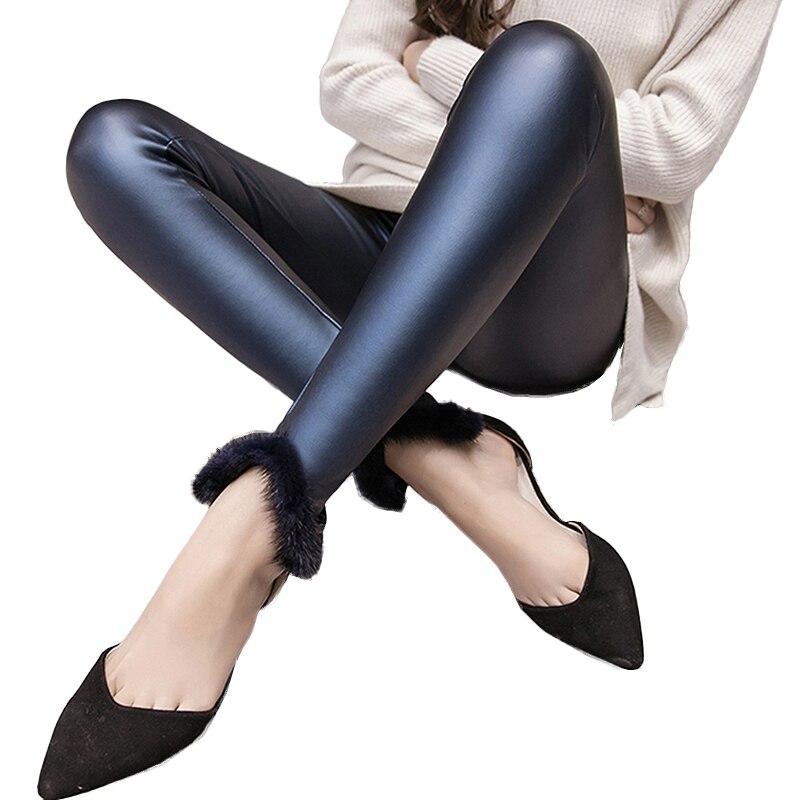 2019 Autumn Winter PU Leather Pants Women High Waist Stretch Skinny Velvet Pencil Pants plus size Streetwear trousers women