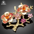 AZORA Gold Plated Stellux Mutilcolour Austrian Crystal The Plum Blossom Branches Design Brooch TP0010