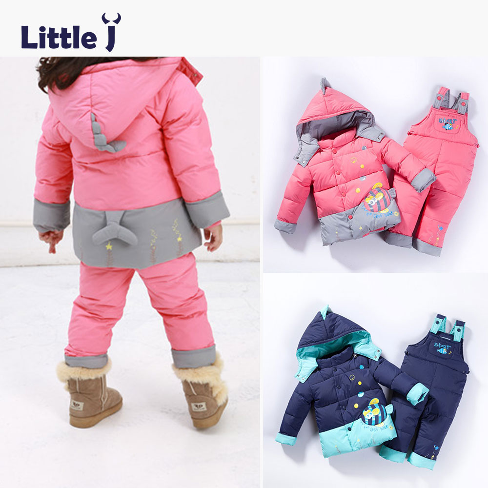 Little J  Winter Warm Snow Suits Baby Girl Duck Down Jackets Adjustable Overalls Trousers Cartoon Fish Boys Thicken Clothes Sets 2016 winter boys ski suit set children s snowsuit for baby girl snow overalls ntural fur down jackets trousers clothing sets