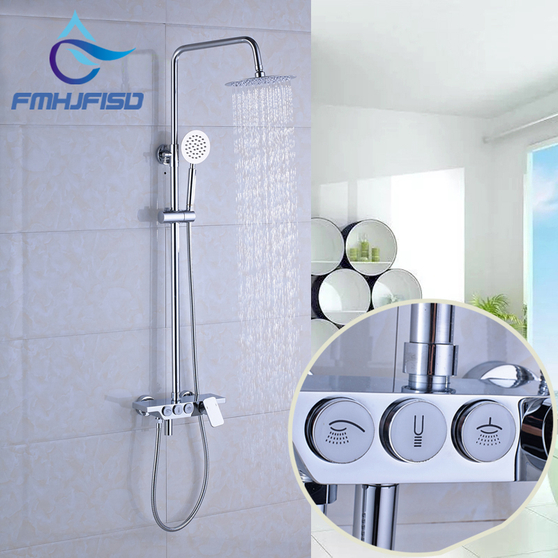 New Design High Quality 8 Shower Head with Plastic Hand Shower Chrome Finish Shower Mixer Faucet