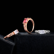 Unique Red Crystal Rings Rose Gold Color / Silver Tone Fashion Retro Engagement Ring