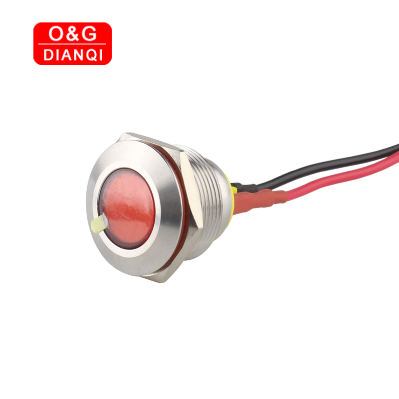 LED Pilot Light 22mm Metal Flashing Indicator Light 6v 12v 220v Led Waterproof Blink Pilot Stainless Steel Signal Lamp With Wire