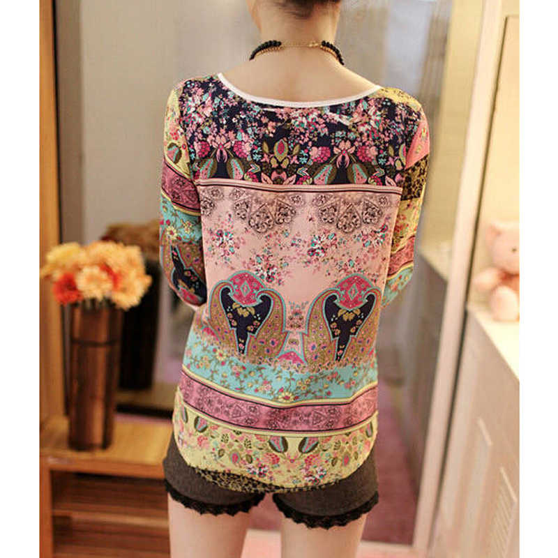 Vrouwen Print Blouse Herfst Print Blouse Shirt Dames 3/4 Mouwen Casual O-hals Tops Vrouwelijke Blouse Vintage Blusas Camisas Mujer XXL