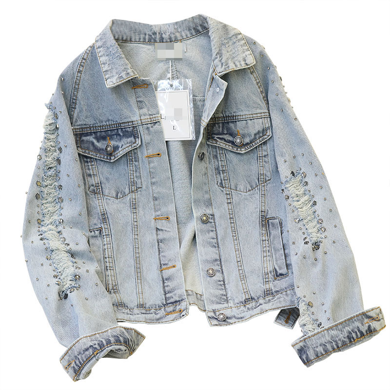 Frayed Jean   Jacket   For Women 2019 Punk Style Rivets   Jacket   Coat Ripped Hole Denim Coat Long Sleeve   Basic     Jacket   Women Outerwear