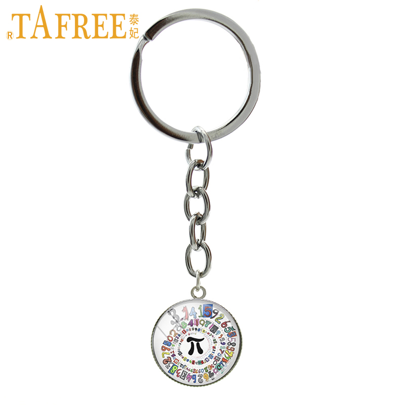 TAFREE Pion Spiral Round image key chains charm colored repeating decimals spiral round art picture keychain math symbol Pi T763