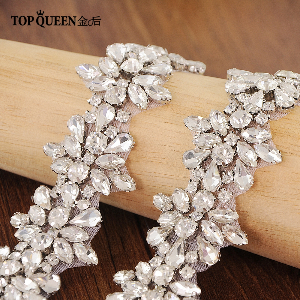 TOPQUEEN S269 Crystal Rhinestones Bride Evening Party Gown Dresses Accessories Wedding Sashes Belt/Waistband Bridal Belts Sashes
