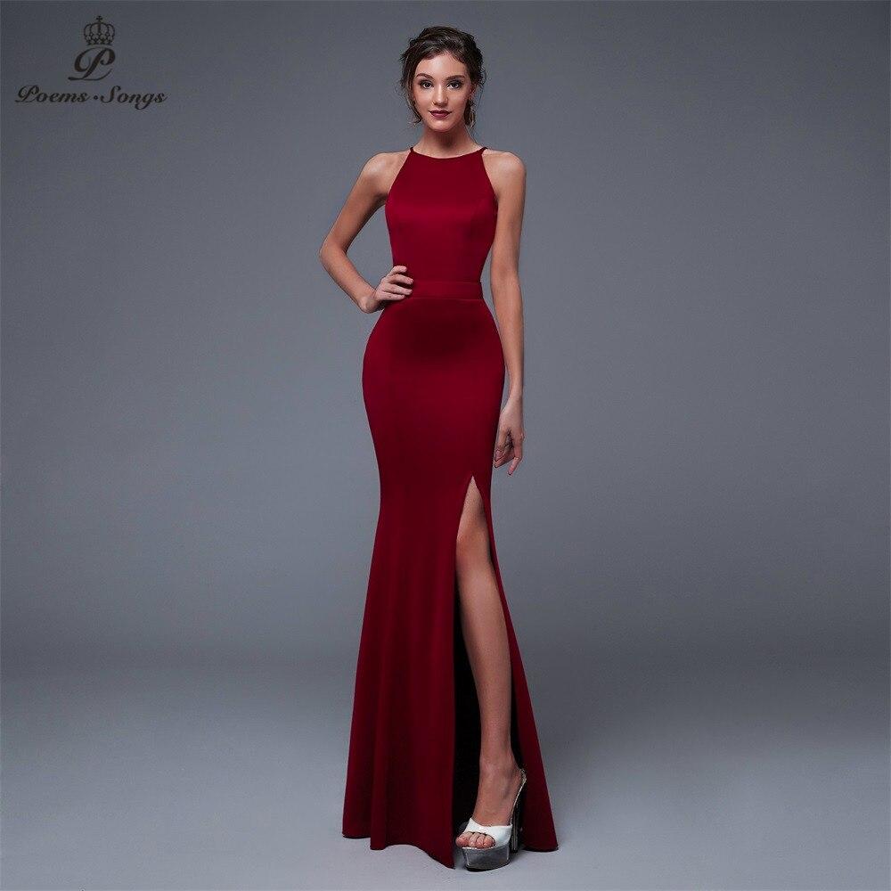 Poems Songs New Year Elegant Charming Black Side Open Prom Formal Party Dress Vestido De Festa Elegant Vintage Robe Longue
