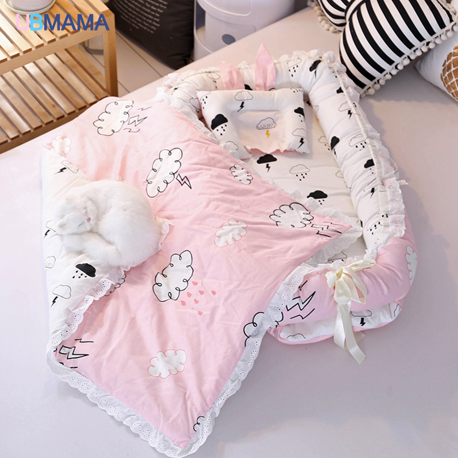 Travel Simple Lovely Foldable Pillow Portable Stripde Solid Baby Sleeper Cotton Newborn Lace Crib And Pillow And Quilt Crib