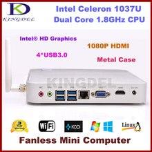 Intel Celeron 1037U Dual Core 1.8 ГГц Процессор безвентиляторный мини-ПК неттоп HTPC Barebone 1080 P видео порт USB 3.0 HDMI VGA металлический корпус