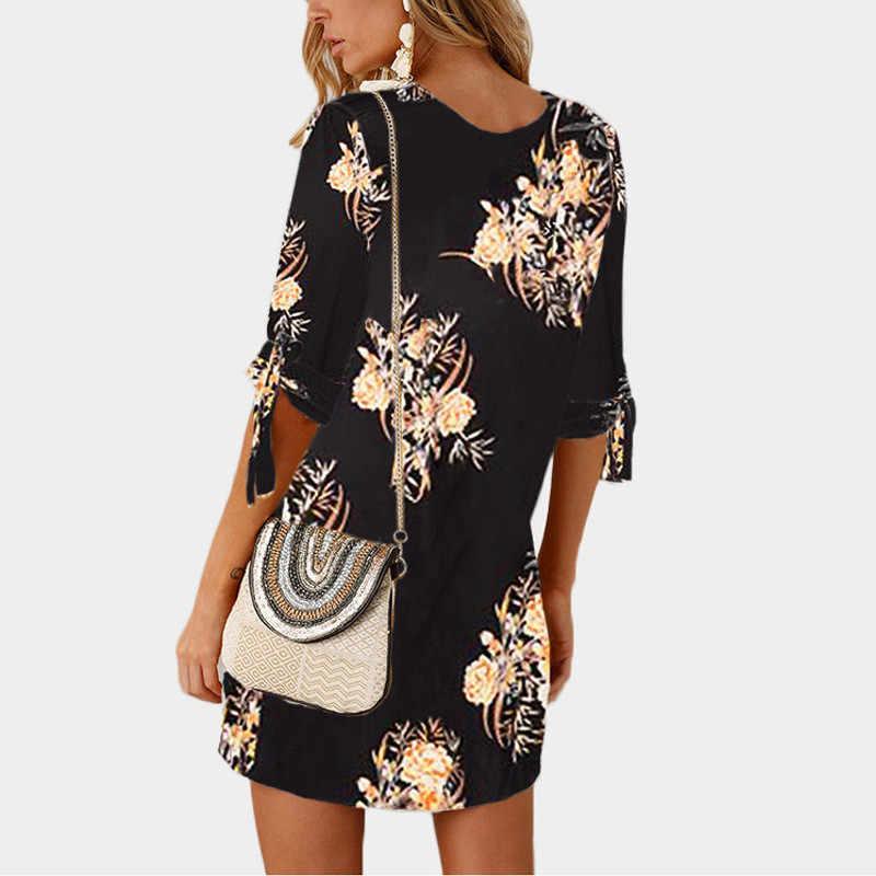 Summer Dress 2019 Women Floral Print Beach Chiffon Dress Casual Loose Mini Party Dress Boho Style Sundress Vestidos Plus Size