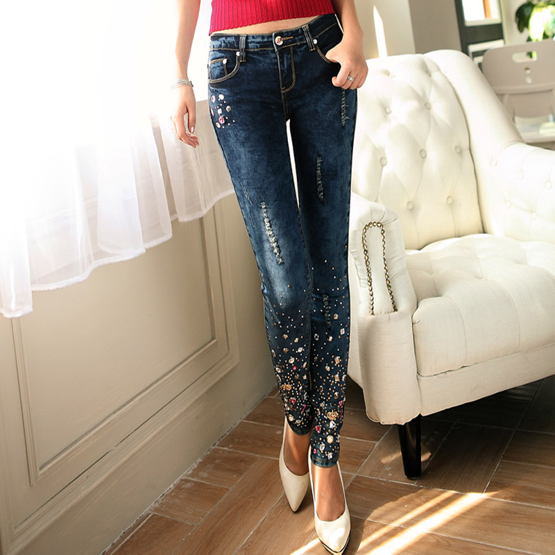 ФОТО New Large Size Women Pants Female Stretch Pencil ripped hole out studded beaded rhinestone cuff attractive lady western Jeans