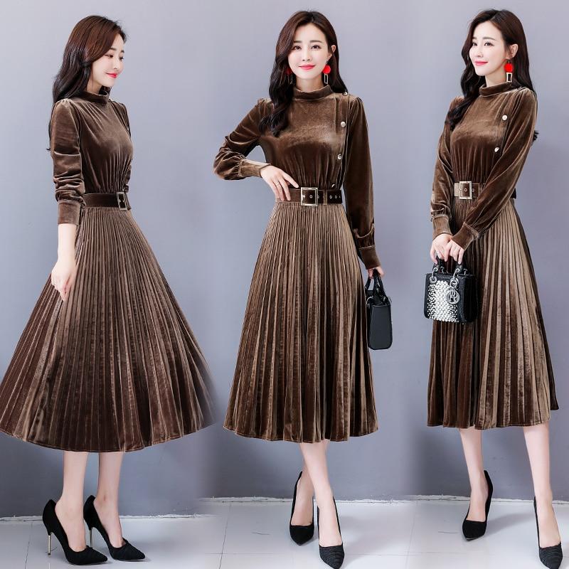 Gold Velvet Pleated The Dress Vestido De Festa Stylish Sashes Women's Dresses Ukraine Solid Color Fashion Midi Dress Vestidos