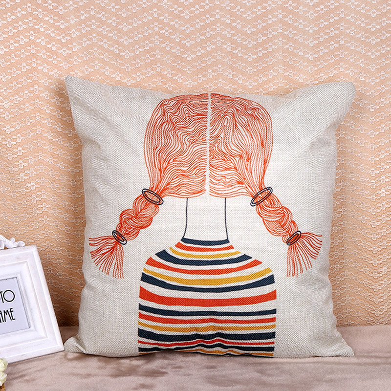 Cartoon Pillowcase Cushion Cover Girl Figure Decorative Pillow Cover Car Home Decor Sofa Pillowcase 45x45cm F