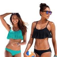 2018 New Sexy Bikinis Women Swimsuit Push Up Swimwear Bandage Cut holes Brazilian Bikini Set Ruffle Bathing Suits Swim Wear